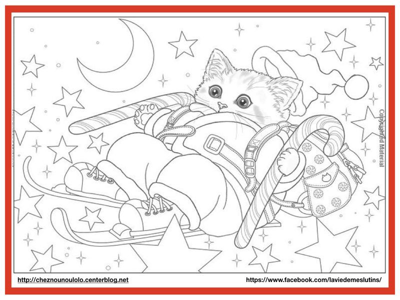 Coloriage Chat Noel.Coloriage Chat Noel