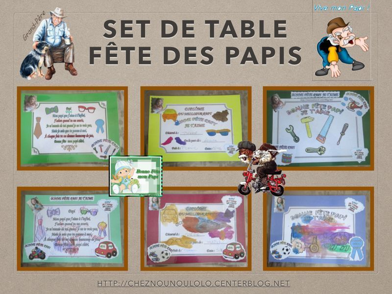 Set de table et carte fete des papis Set de table a personnaliser